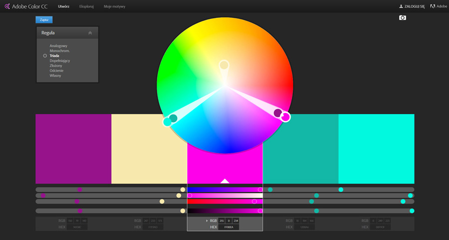 Interface programu Adobe Color CC