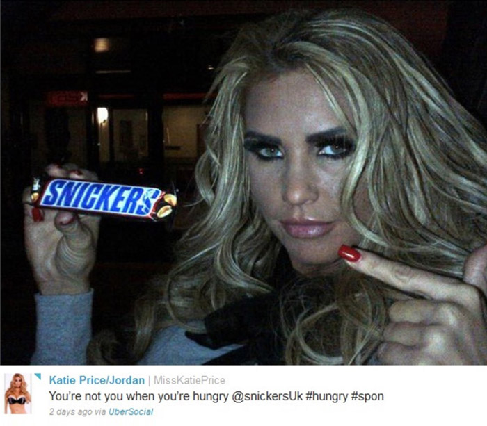 Katie Price i Snickers